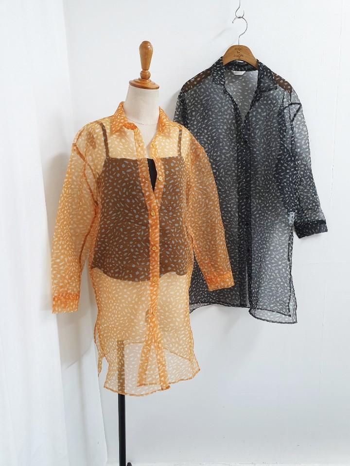 [완사입/파샬] 호피 씨스루 밑단트임 셔츠 2컬러 -29장 3500원