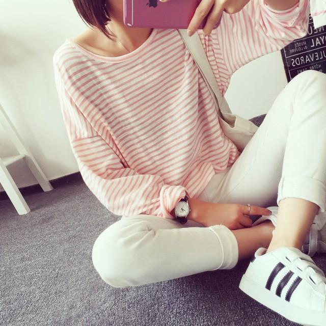 프리사이즈 스판줄무늬 T-셔츠