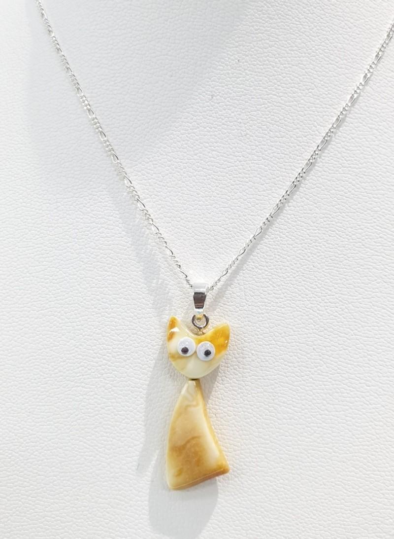 천연호박 고양이 실버목걸이