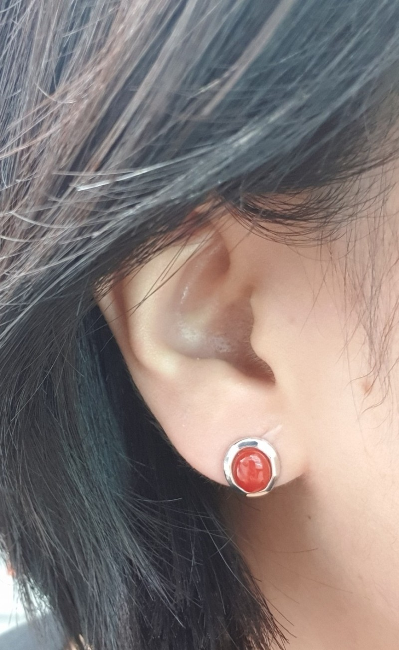 실버 천연산호 귀걸이