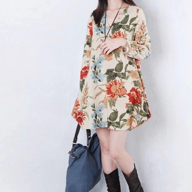 (가을옷 원가처분) 빅사이즈 꽃무늬브이넥원피스