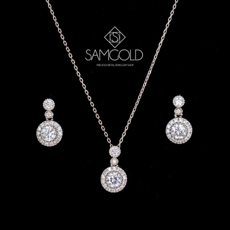 샘골드 천연다이아몬드 목걸이 귀걸이세트