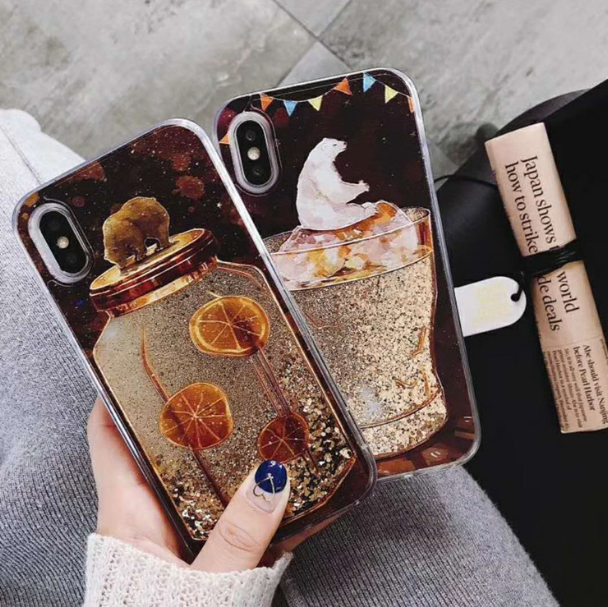 공장직배송 북극곰 레몬잔 디자인 글리터 핸드폰케이스 제품10219