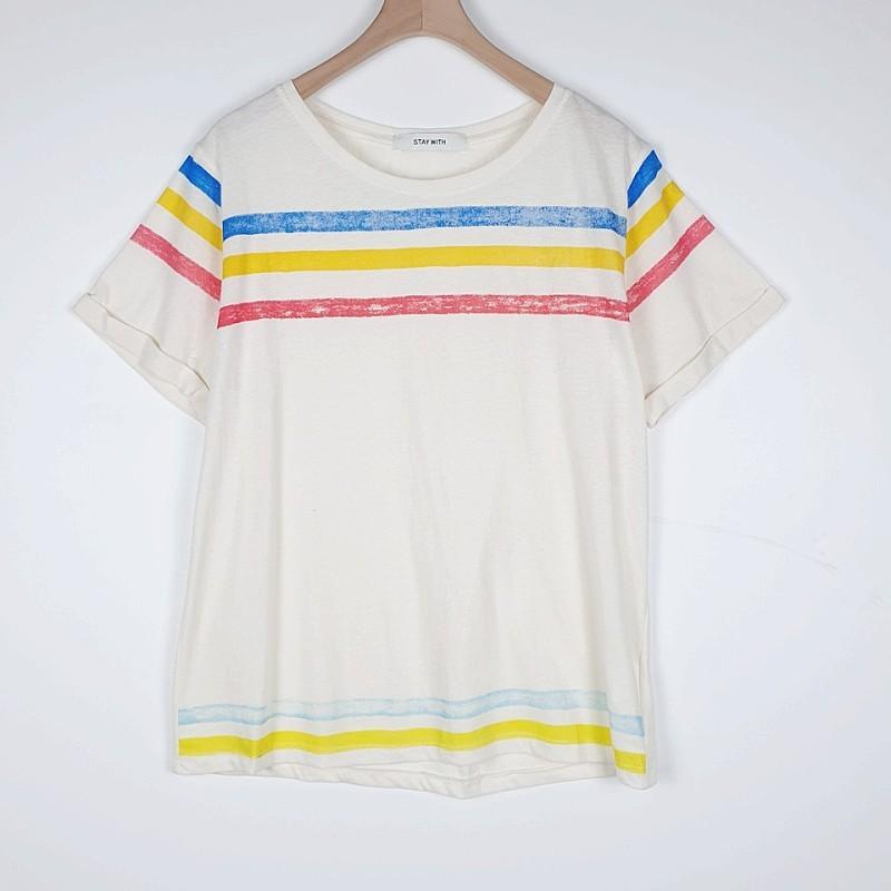 a1262 수채화 소매롤업 티셔츠O