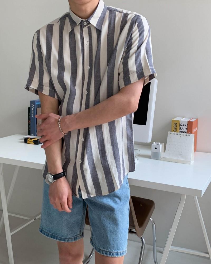 (인티드)7302 스트라이프 반팔 셔츠