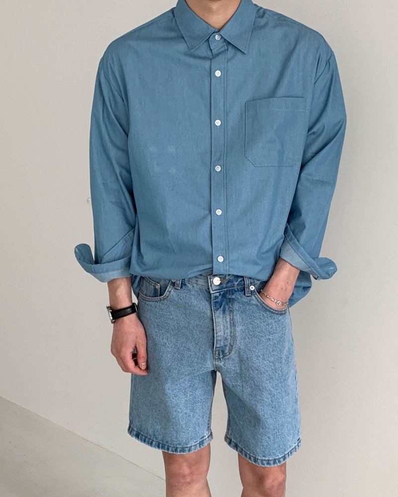 (인티드)7909 헤지 청 오버핏 셔츠