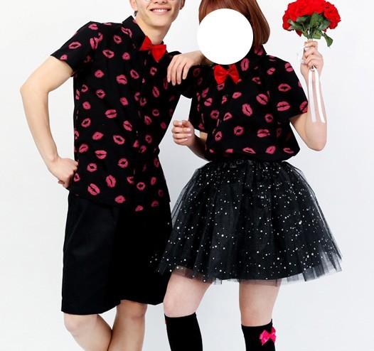 (완사입/파샬) 아련돋는 입술 카라셔츠 2색상/30장/1500
