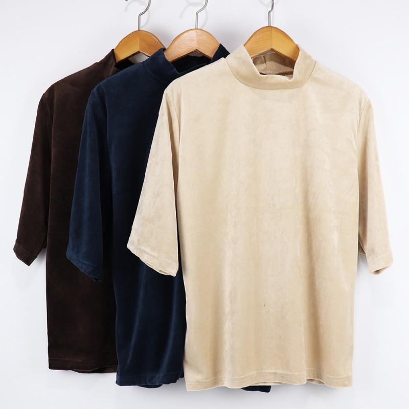 (도매야)퍼센트 벨벳 반목 티셔츠