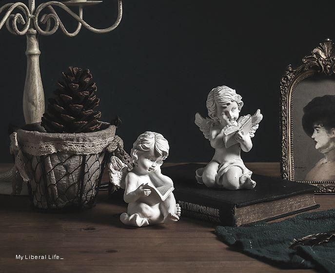 독서하는 천사 장식 공예품