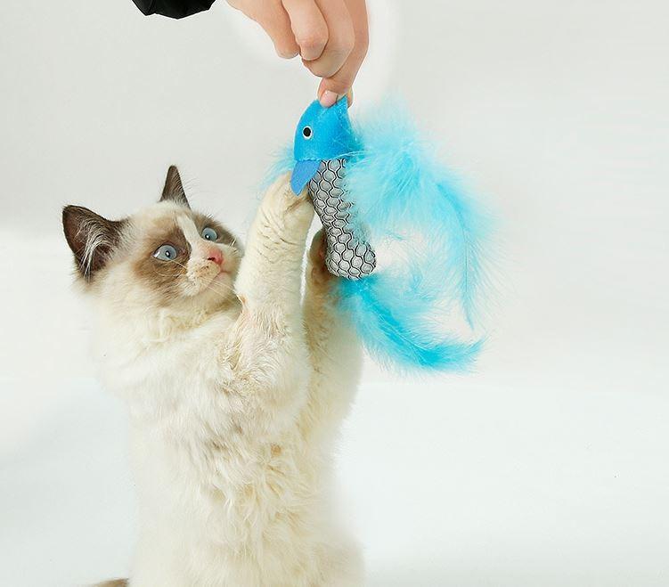 민트향 인어깃털 고양이 장난감