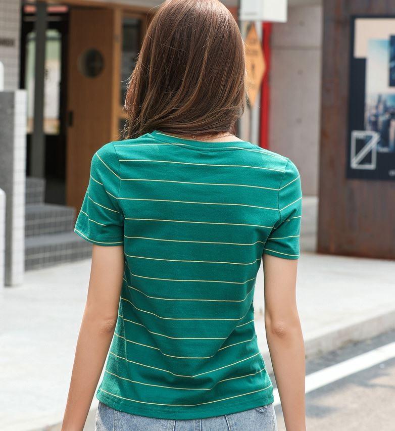 여성용 스트라이프 라운드 반팔 티셔츠