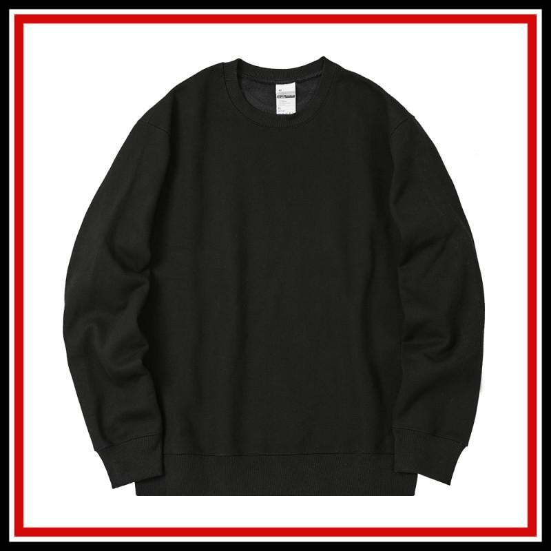 [공장직영][국내생산] 82갤러리 무지 오버핏 맨투맨 블랙 티셔츠