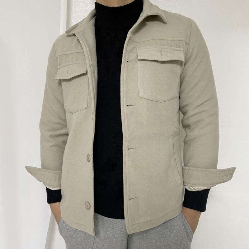 (새상품)베이지 남성 숏 모직코트 남자자켓 봄코트 봄자켓 M
