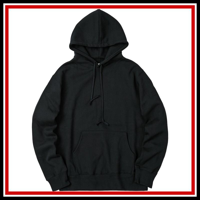 [공장직영][국내생산] 82갤러리 무지 오버핏 후드 블랙 티셔츠