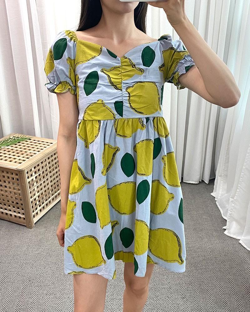 (완사입/파샬) 레몬 스모크 미니 원피스 / 44장 / 4500 / b11