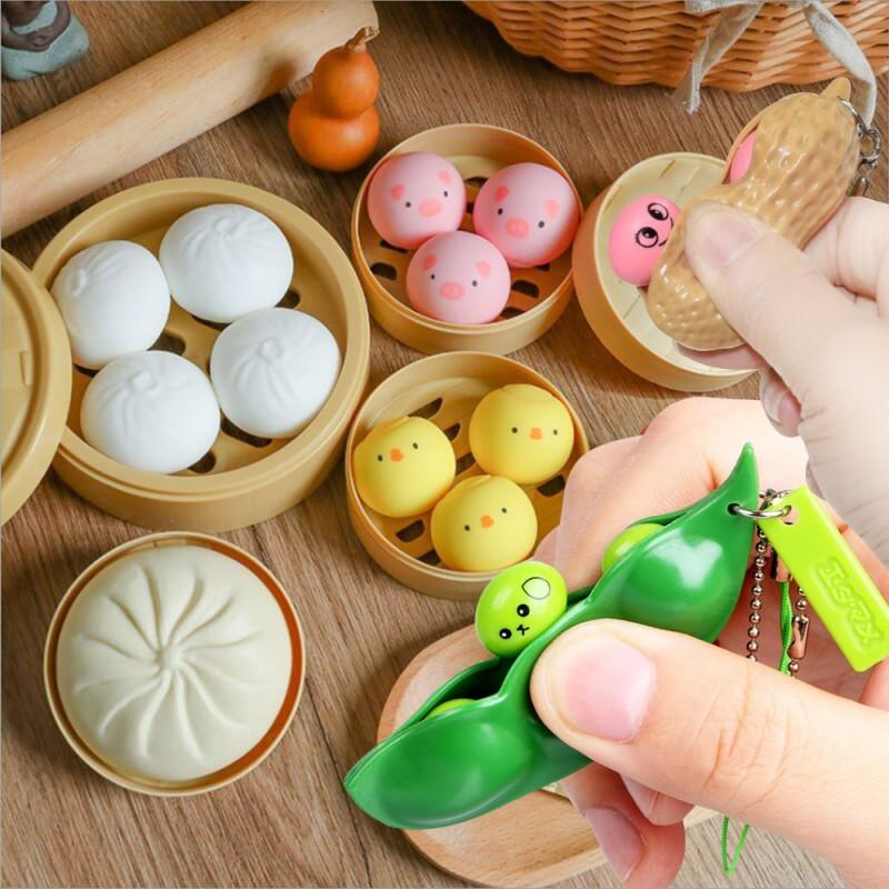 만두말랑이 돼지 병아리말랑이 스퀴시완두콩땅콩틱톡말랑이 어린이장난감