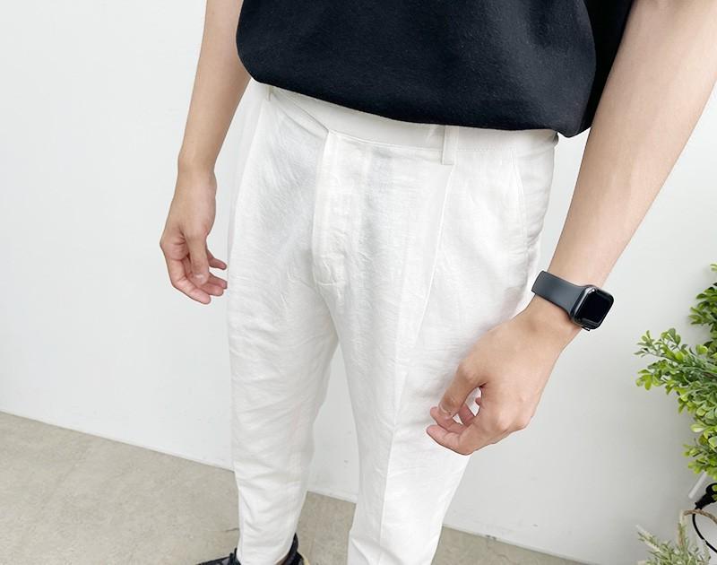 (완사입/파샬) 봄 여름 면바지 핀턱 벨트 남성팬츠/12장/3500/a05