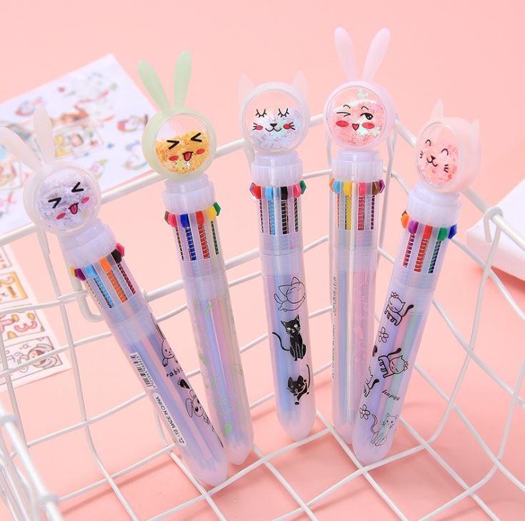 토끼 10색 볼펜
