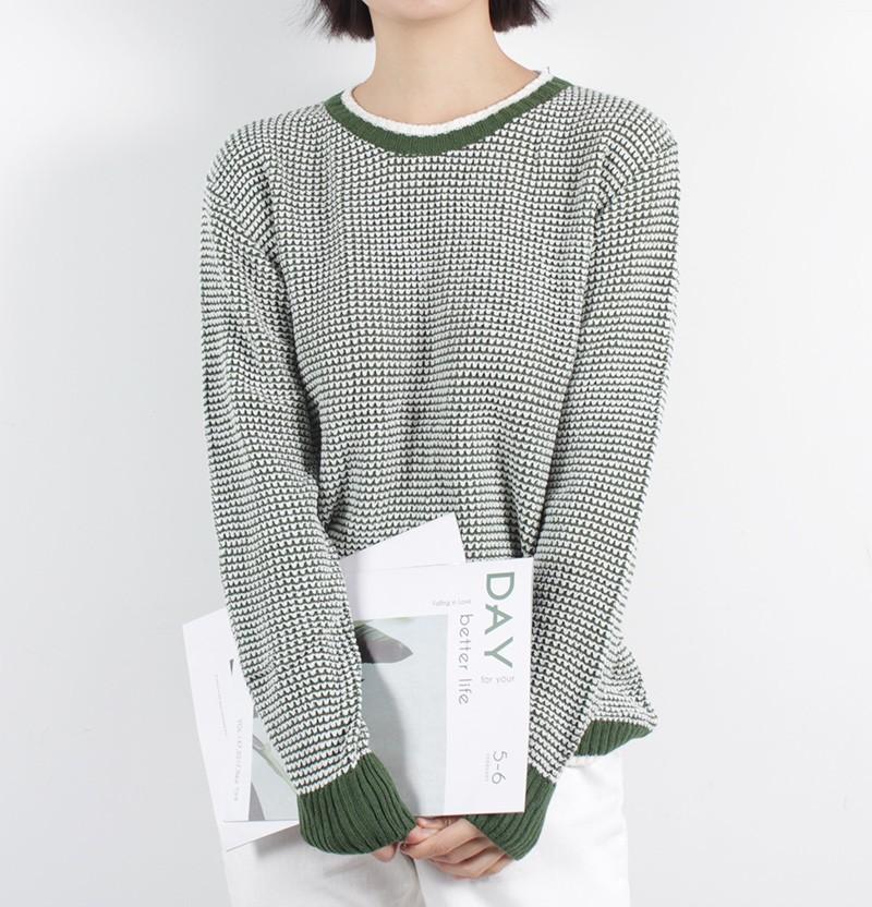 (완사입/파샬) 루즈핏 배색패턴 라운드 여자 니트/35장/3500