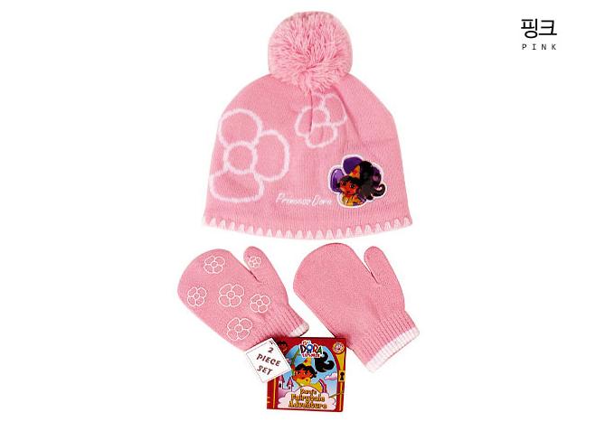 도라 꽃방울 모자 장갑 세트