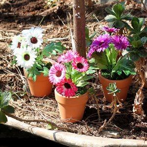 원형 꽃 조화 화분
