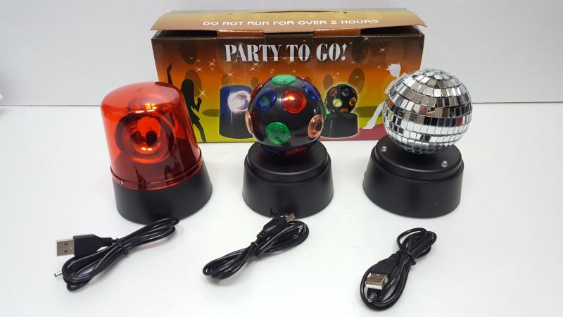 LED 휴대용 usb 건전지 겸용 미러볼 3종세트 무드등 싸이키 미러볼