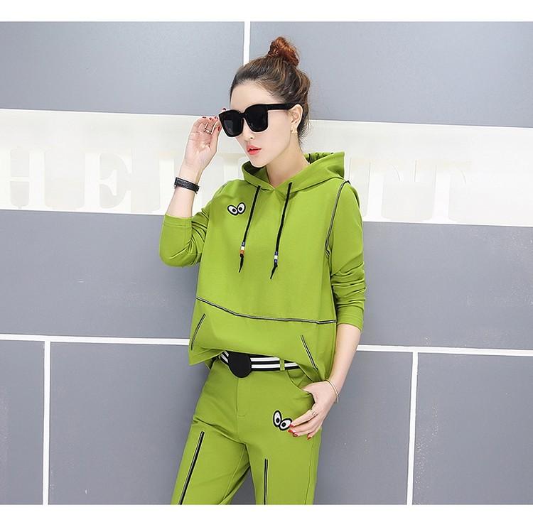 [CESS] #EF-101 여성용 캐주얼 운동복 - 검정 그린 레드 옐로우