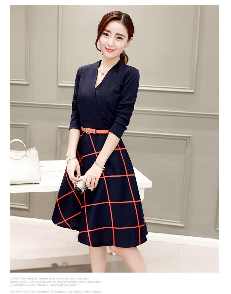 [CESS] #DN-229 여성용 레드격자무늬 드레스- 네이비