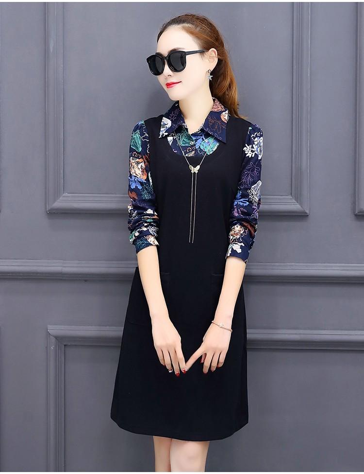[CESS] #DT-011 프린트 블라우스 드레스 -검정 와인