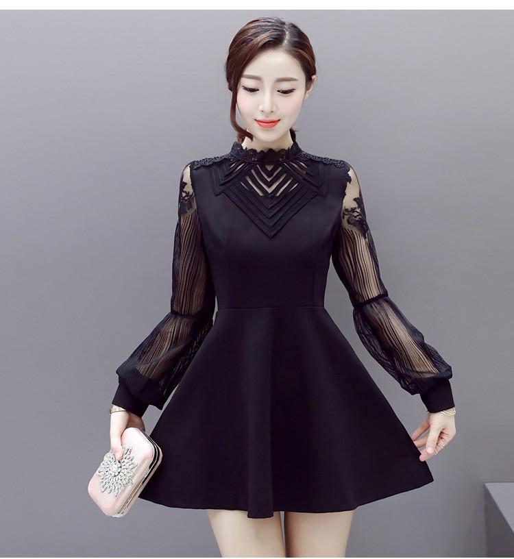 [CESS] #DB-408 여성용 레이스 소매 드레스 - 검정 와인