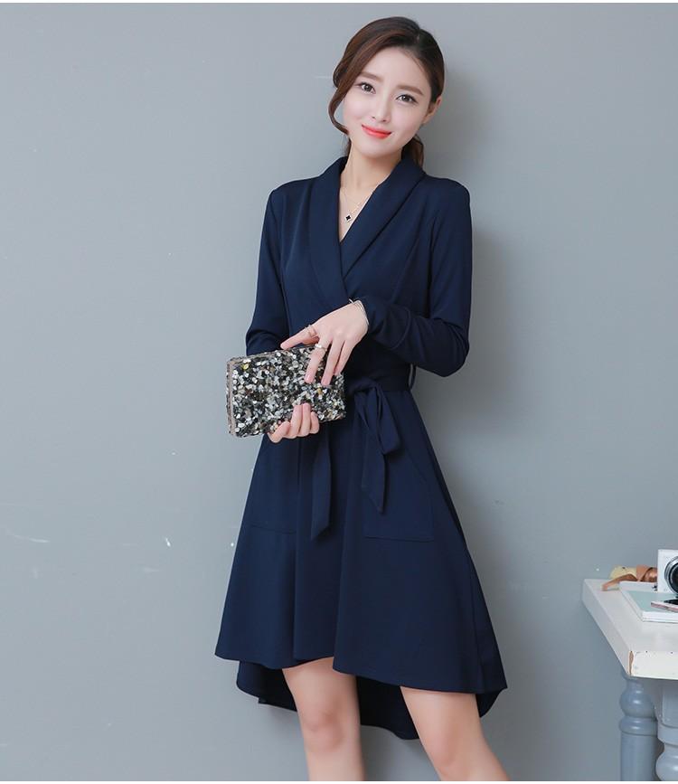[CESS] # DN-141 여성용 브이넥카라 드레스-네이비