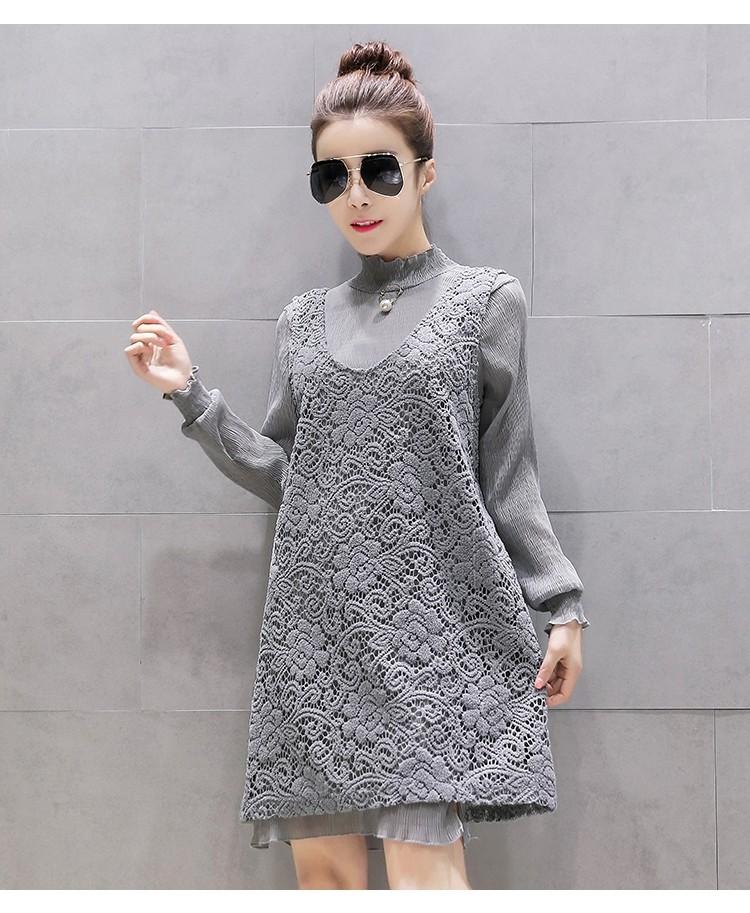 [CESS] # DN-210 여성용 레이스 드레스 셋트 - 그레이, 핑크