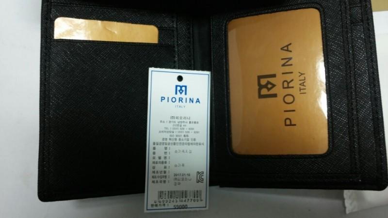 롯데백화점 판매정품 피오리나 남성용 소가죽 중지갑 블랙 p100bk