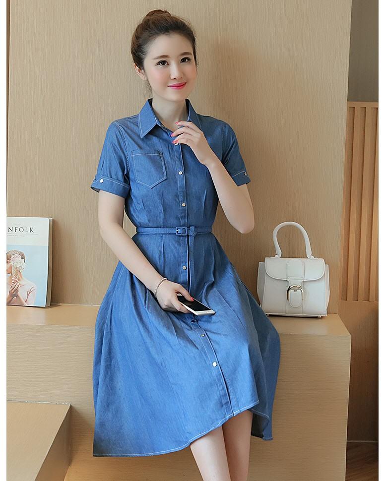 [CESS] #DT-104 여성용 데님 드레스 - 진한청색, 연한청색