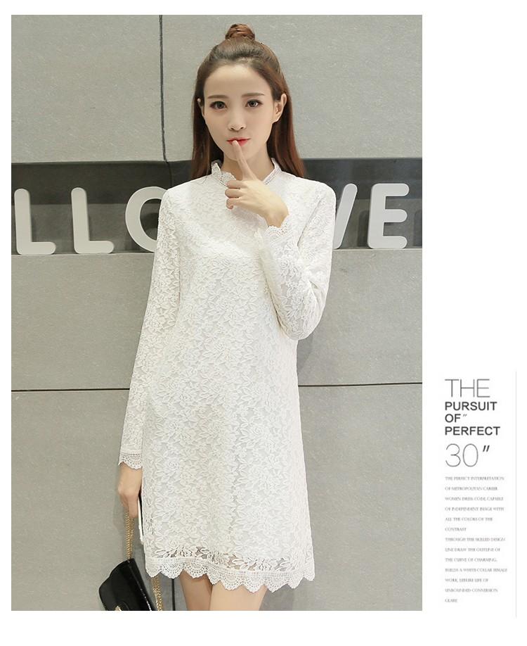 [CESS] #DN-708 여성용 레이스 드레스 - 화이트, 블랙