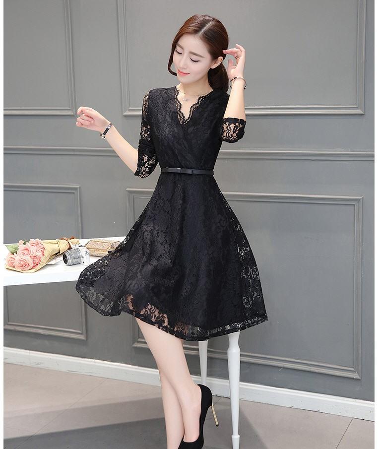 [CESS] #DG-710 여성용 레이스 드레스 - 블랙, 와인