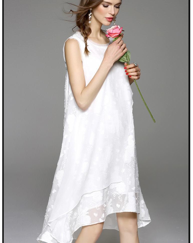 [CESS] #DB-712 여성용 쉬폰 드레스 - 블랙,  화이트