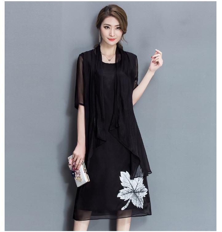 [CESS] #DN-713 여성용 쉬폰 드레스 - 블랙, 화이트