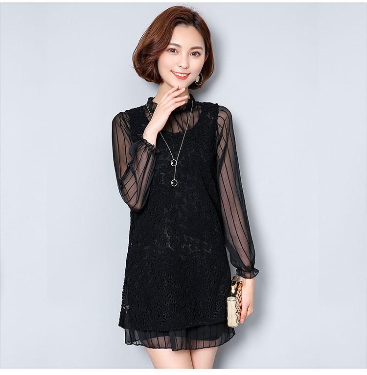 [CESS] #DT-715 여성용 레이스 드레스 - 블랙,