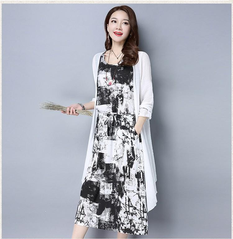 [CESS] #DF-716 여성용 프린팅 드레스 가디건 셋트 - 블랙, 블루
