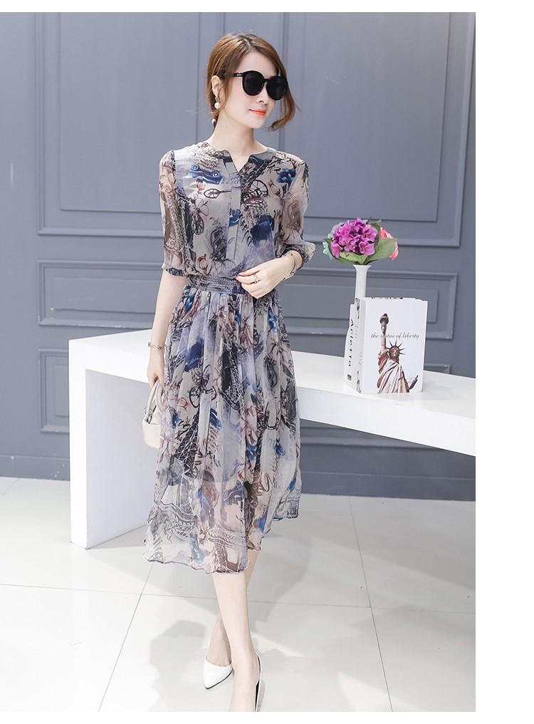 [CESS] #DN718 여성용 쉬폰 드레스 - 그레이프린팅
