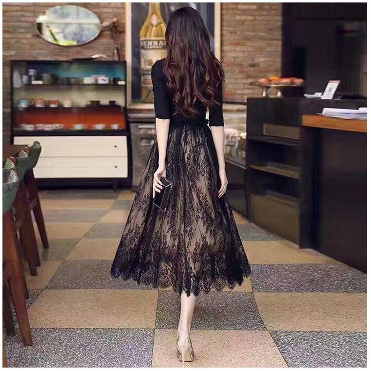 [CESS] #DN720 여성용 레이스 드레스 - 블랙