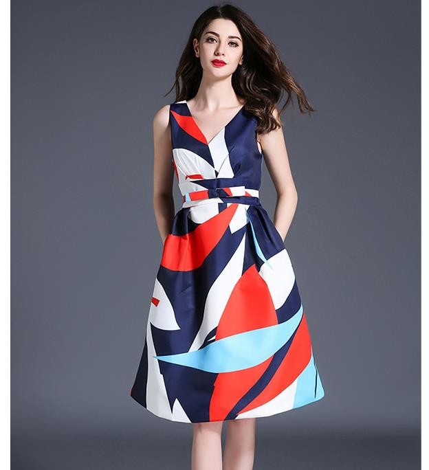 [CESS] #DN802 여성용 PRINTING  드레스 - 오렌지, 블루