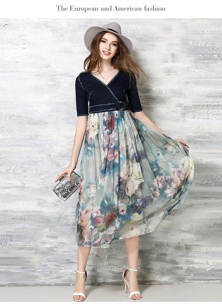 [CESS] #DN803 여성용 데님, 쉬폰 드레스 - 블루