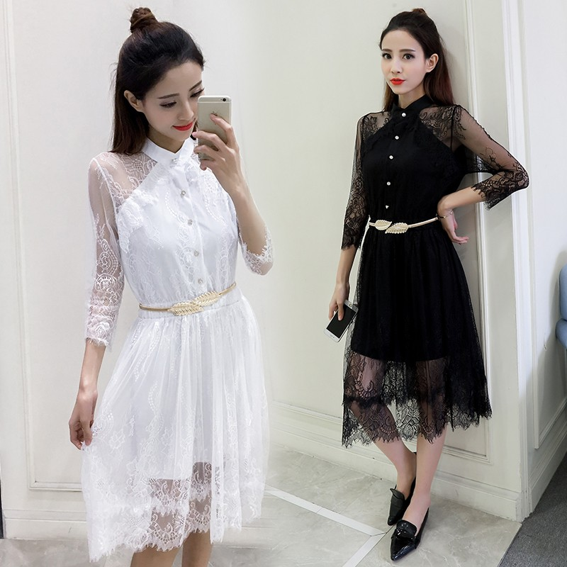 [CESS] #DN805 레이스 드레스 - 블랙, 화이트
