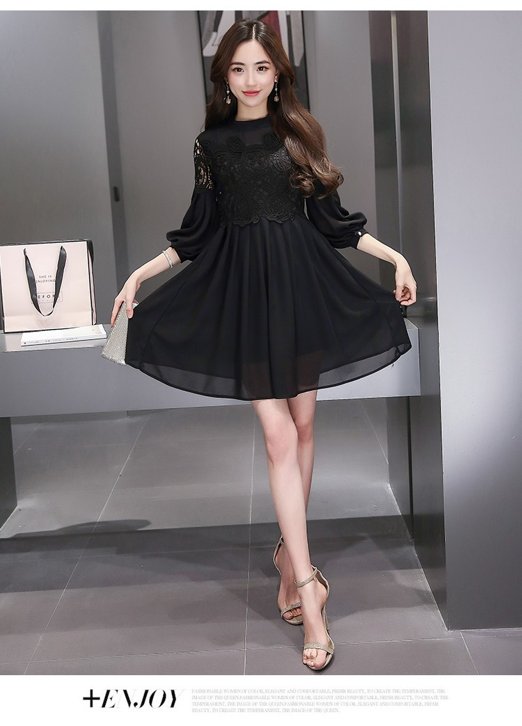 [CESS] #DN807 쉬폰 레이스 드레스 - 블랙, 핑크