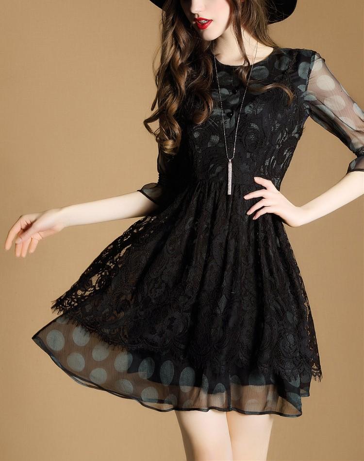 [CESS] #DN810  레이스 드레스 투피스 - 블랙,
