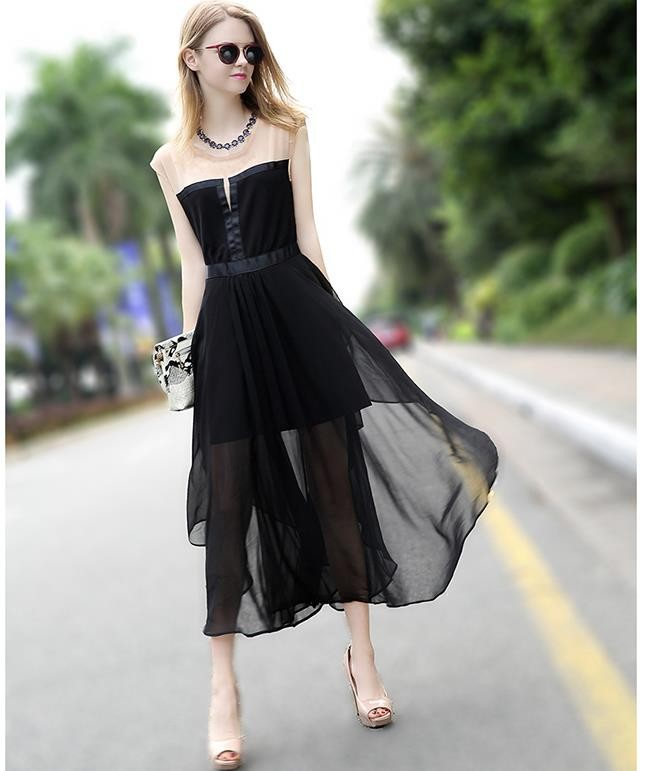 [CESS] #DN814 쉬폰 드레스 - 블랙,
