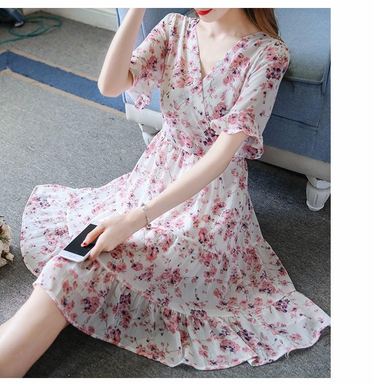 [CESS] #DF818 꽃무늬 원피스 - 블루, 핑크