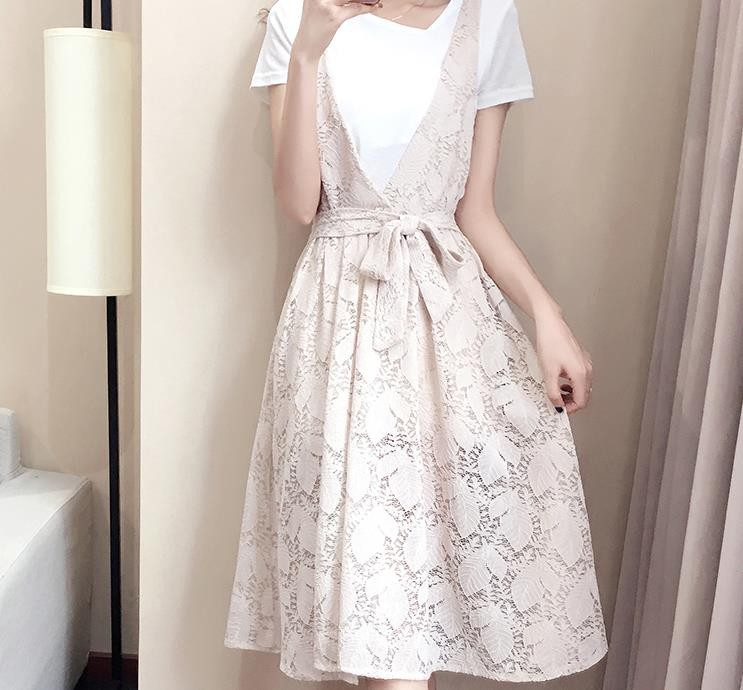 [CESS] #EN956 투피스 드레스 셋트-  베이지, 블랙